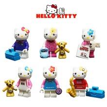 Girl Series Mini Hello Kitty Cat gifures Building Blocks Toys Bear Cup Flower Bag Bricks Compatible with Lego JLB 18901-18906(China (Mainland))