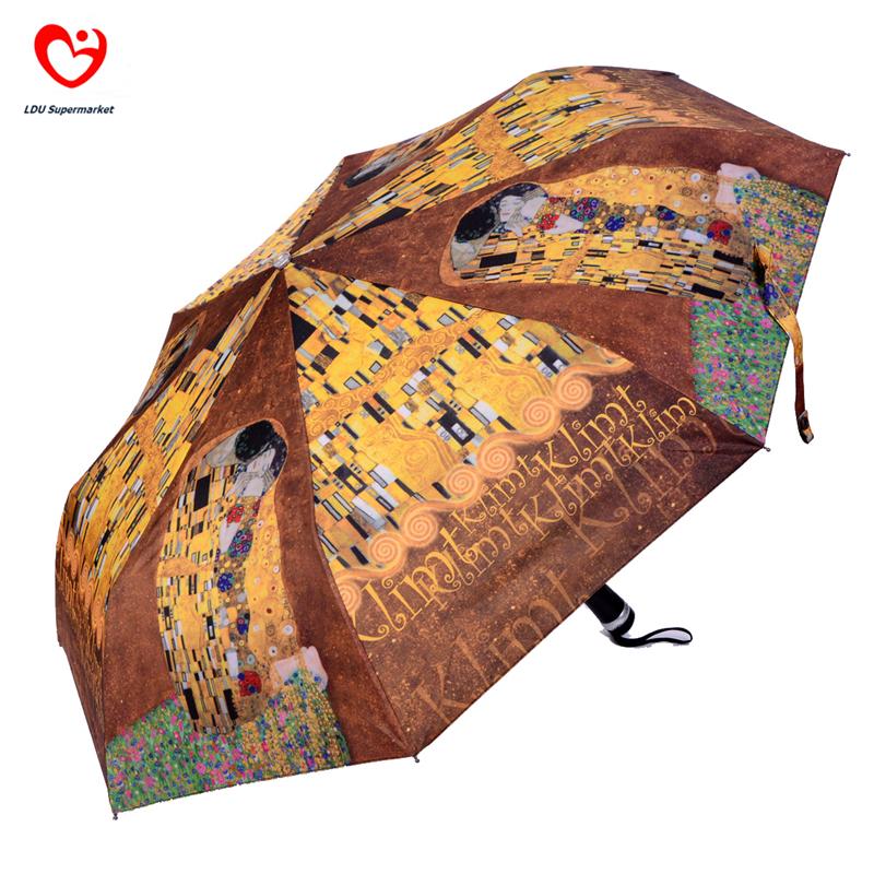 Original Design Creative Japanese Three Elephants Brand Oil Painting Printed Automatic 3 Folders Wind Resistant Rain Umbrella