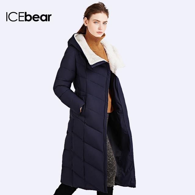 ICEbear 2016Модель пуховика длинная скромная поясом Зимняя куртка женщин Зимняя пальто воротник капюшоном искуственный мех 16G661D