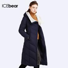 ICEbear 2016 Long Soft Gentle Wool Hooded Solid Winter Jacket Coat For Women Belt Women's Brand Parka 16G661D(China (Mainland))