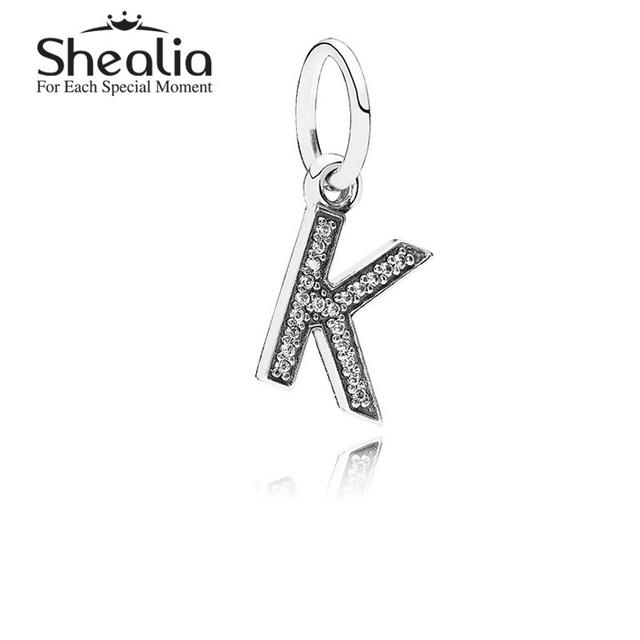 Аутентичные 925 серебряная буква K мотаться подвески подвеска с четкими CZ для женщин подходит известный бренд DIY браслеты LE13K