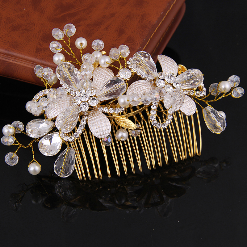 Women Hair Jewellery Gold Crystal Hair Combs Wedding Accessories Pearl Rhinestones Hair Accessories flower Gold tiara FORSEVEN(China (Mainland))