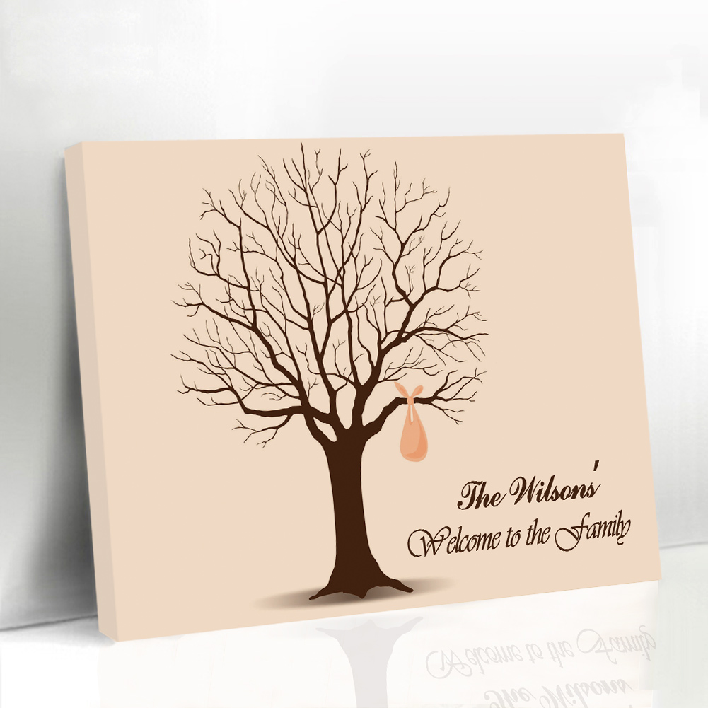 Framed Wedding Guest Book Fingerprint Tree Family Reunions Keepsake Customized GIFTS Name & Date Canvas Printing Supplies(China (Mainland))
