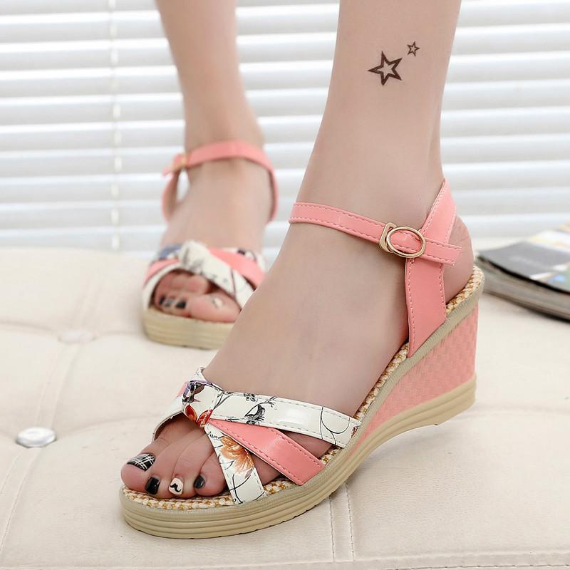 Free shipping 2016 Summer style Women sandals wedge female sandals high platform wedges platform open toe platform casual shoes(China (Mainland))