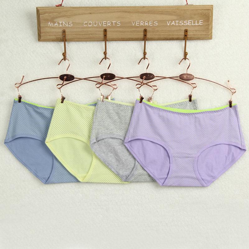 5pcs Factory direct cotton underwear cotton crotch bottom light-colored dots cute girls comfortable waist briefs N58(China (Mainland))