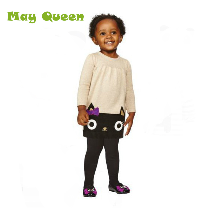 Princess Dress Cute Cartoon Cat Pattern Sweater Baby Girls Dress Soft Long Sleeve O-Neck A-Line Children Clothing 5pcs/lot T30<br><br>Aliexpress