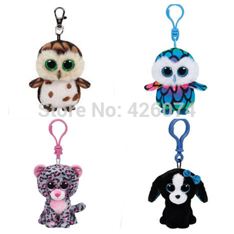 New Ty Beanie Boos Big Eyes Owl Dog Leopard Stuffed Animals Clip Keychain Small Pendant Kids Plush Toys 8CM(China (Mainland))