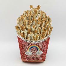 Boutique De FGG frites frites arc-en-ciel embrayage sac De soirée femmes cristal sac De soirée diamant mariage sac à main De mariée(China)