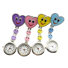 Adorable Kid's Children's Smiling Faces Heart Clip-On Pendant Nurse Fob Brooch Pocket Watch