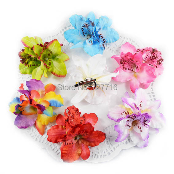 silk Thailand butterfly orchid flower with clip and brooch -Free shipping(China (Mainland))