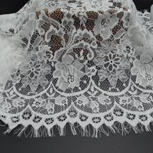 3yards White and black Romantic Net Eyelash soft Lace Fabric Wedding dress Doll Craft wide 50cm (20'')(China (Mainland))