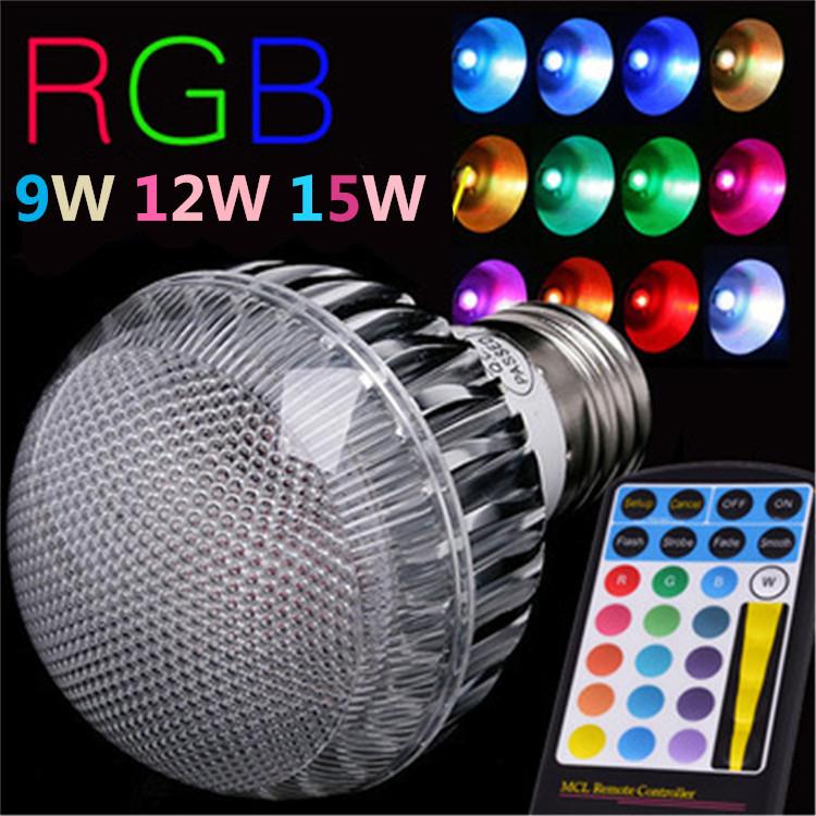 2015 New arrival LED RGB Bulb E27 9W 12w 15W Remote Control Color Changing LED Wall Light Bulb RGB Lamp 85-265V(China (Mainland))