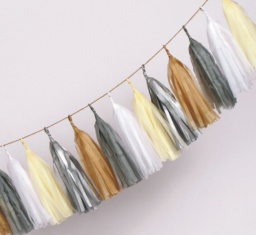 14 inch 35cm Tissue Tassel You Pick Colors ! Paper Garland Banner DIY kits(China (Mainland))