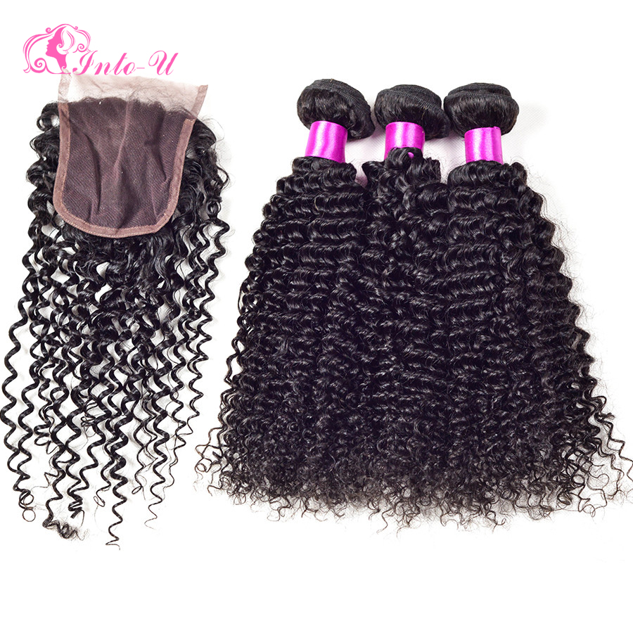 6A Grade Kinky Curly Virgin Hair With Closure Virgin Peruvian Curly Hair 3 Bundles With Closure Cheap Bundles With Closures Lot