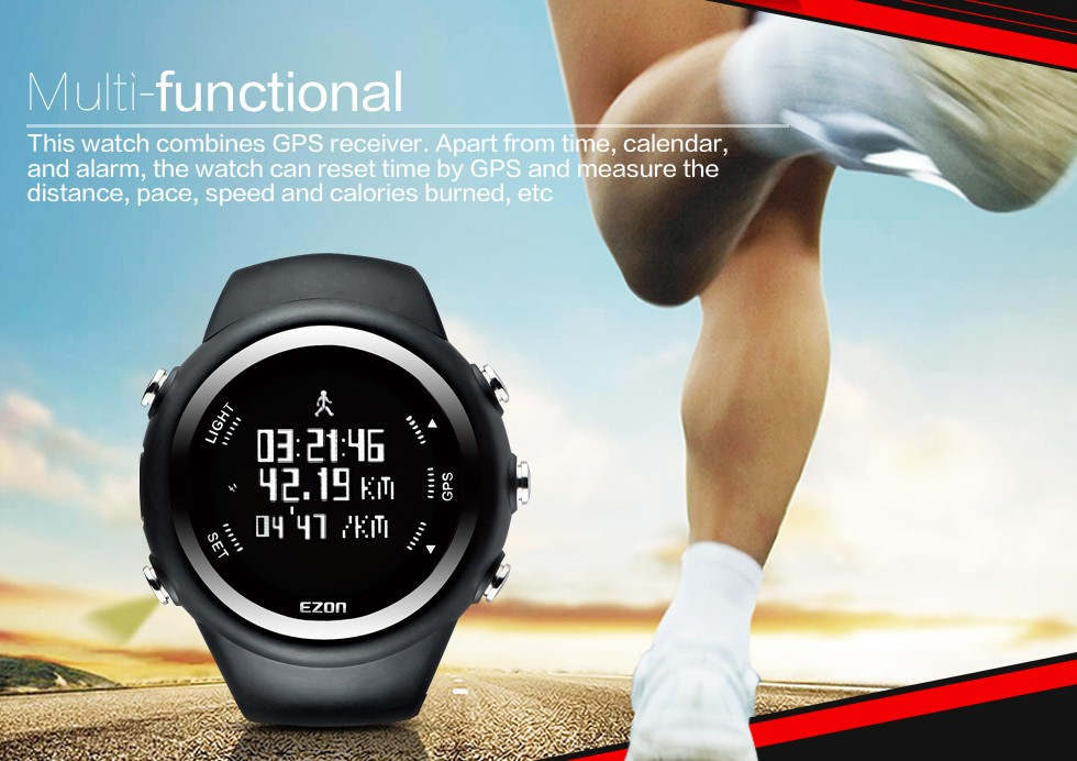 EZON спортивные часы GPS работает часы мужчины многофункциональный открытый водонепроницаемый мужские часы расстояние скорость калорий ремень T031