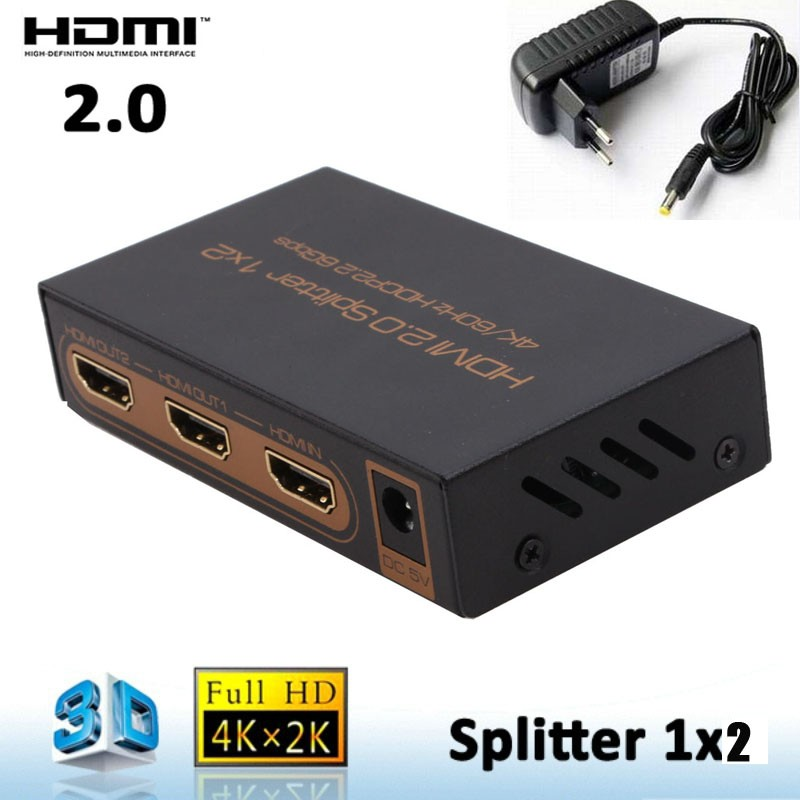 4KX2K HDMI 2.0 1x2 HDMI splitter 1 In 2 Out HDMI Switcher audio Converter 1080P Distributor (4K/60Hz/HDCP2.2) With power adapter(China (Mainland))
