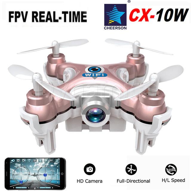 Мини WI-FI Drone Cheerson CX-10W Вертолет Самолет Quadcopter С Камерой 0.3MP 720 P Свет 4CH 6 Ось 3D Ролл Дрон Игрушки Хобби
