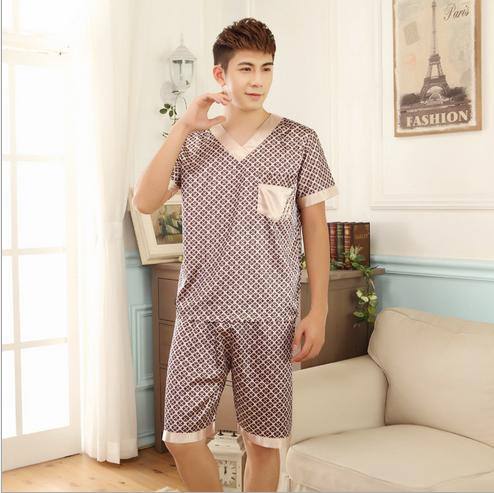 2016 New Summer couple sleepwear sexy pajamas sets short sleeve shorts sets nightgown women and men silk pajamas nightwear