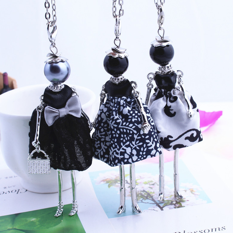 10pcsWomens New Design Lovely Black Girl Doll Necklace Cloth Bowknot Dress Princess Pendant Chain Long Necklace Jewelry Gifts(China (Mainland))