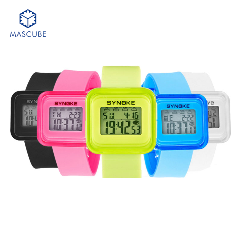 [MASCUBE]Sport Wristwatch New 2016 Fashion Unisex LED Light Digital Watch 6 Colorful Casual Kids Boys Girls Watches(China (Mainland))