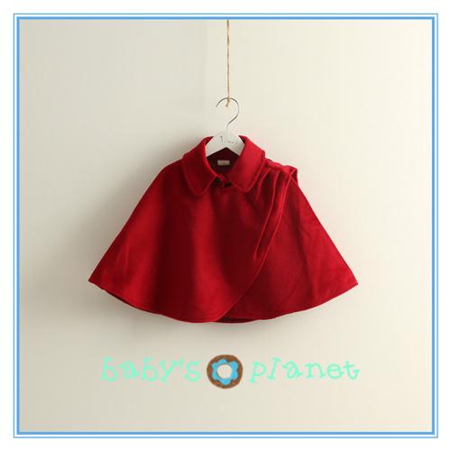 2015 free shipping new fashion red baby girl coat woolen cloak winter jacket princess elegant classic blanket Christmas 5pcs/lot(China (Mainland))