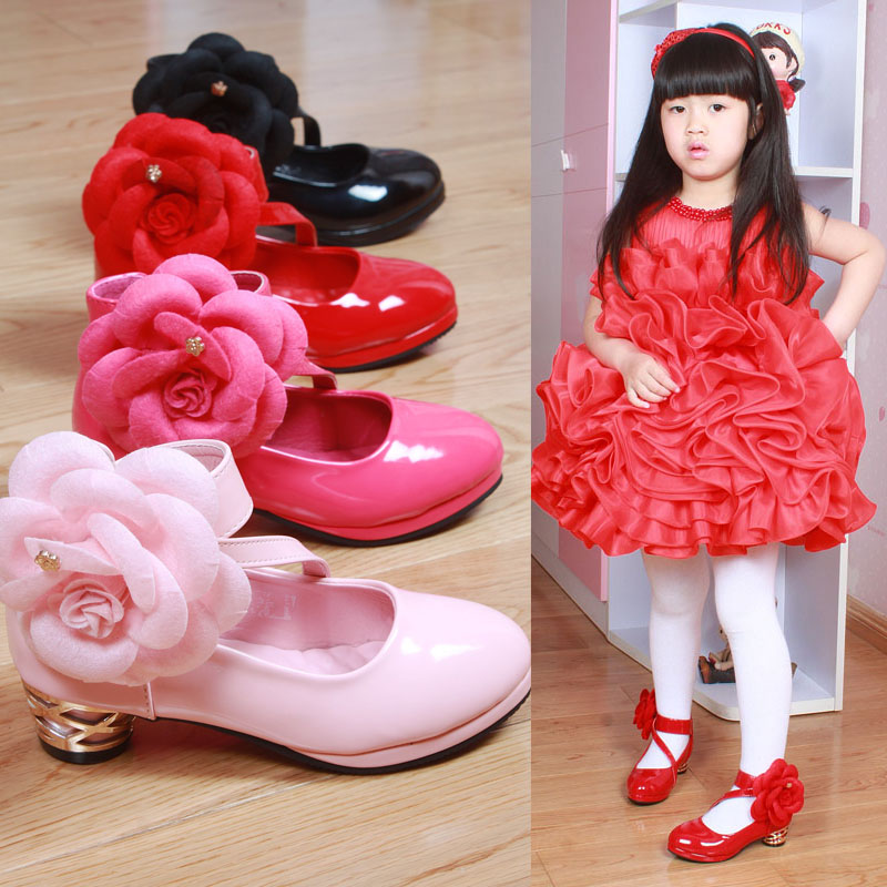 2016 Spring New Korean Kids Shoes Princess Children s Flowers Heels 3CM Dance Shoes Girls