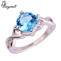 lingmei New Fashion Gift Beauty Wholesale Dazzling Bule Topaz  Silver Ring Size 6 7 8 9 10 Jewelry For Women Free Shipping