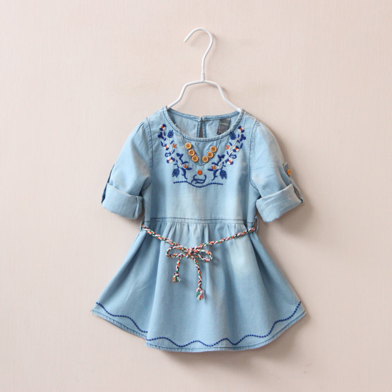 Girl With Dual Sleeve Neckline Fold Jean Dress Girls Embroidered Denim Dress Unlined Upper Garment Children Spring Summer Dress(China (Mainland))