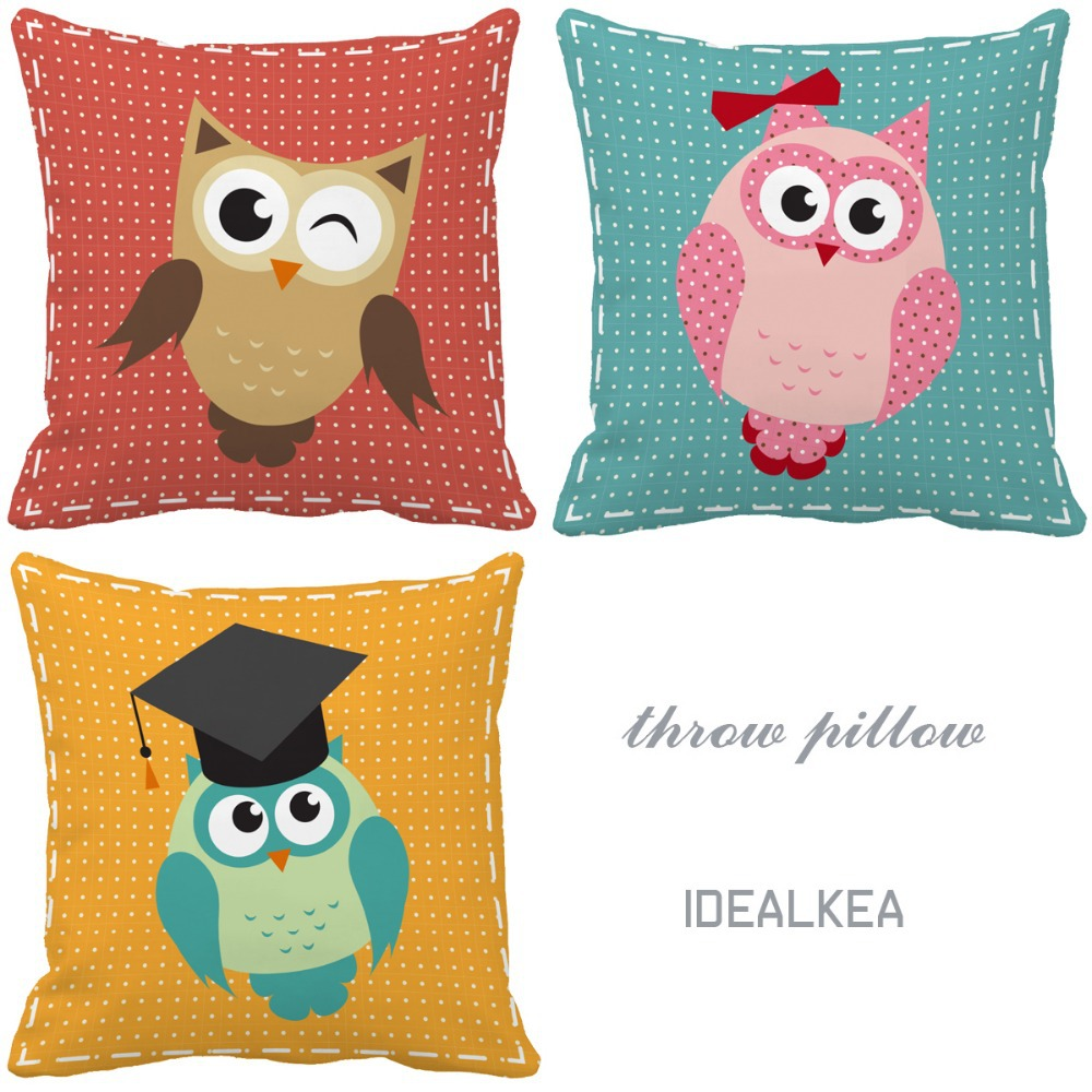 Cartoon owls series print custom light color accent pillows for sofas kids chair cushion home decor
