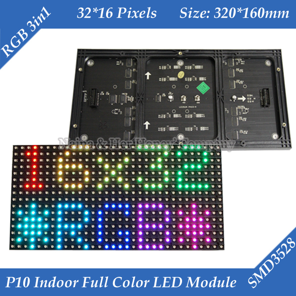 Indoor 320*160mm 32*16pixels 3in1 SMD 1/8 scan RGB P10 full color LED module for Advertising media LED Display(China (Mainland))