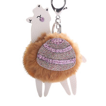 Fofo Alpaca Paetês Pompom Charme Saco Chave Anel Keychain Ornamento Decor Ornamento de Suspensão Do Carro(China)