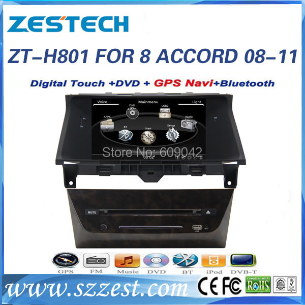 ZESTECH High performance dual-core HD digital touch screen car dvd for Honda ACCORD 08-11 car dvd with radio/RDS/3G(China (Mainland))