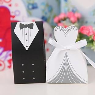 100Pcs Bridal Gift Cases Groom Tuxedo Dress Gown Ribbon Wedding Favor Candy Box ZHH033(China (Mainland))