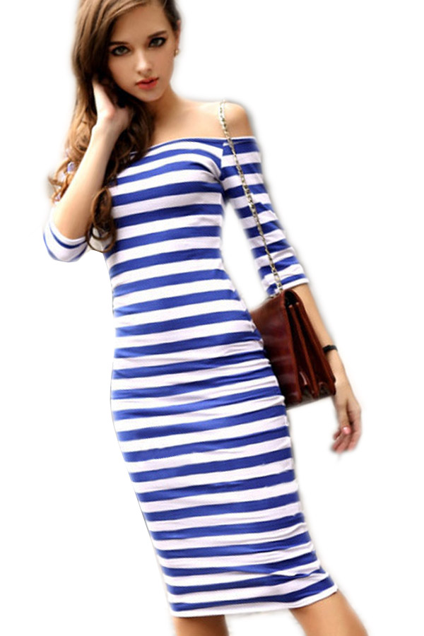 2016 Women Summer Dress Lady Sexy Half Sleeve Off Shoulder Stripe Stretch Bodycon Party Pencil Dresses Cotton Blend S-XL Vestido(China (Mainland))
