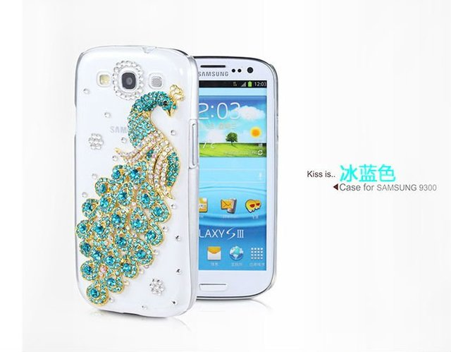 Luxury Peacock Diamond Cover For Samsung I9300 Galaxy SIII S 3 Crystal Bling Case