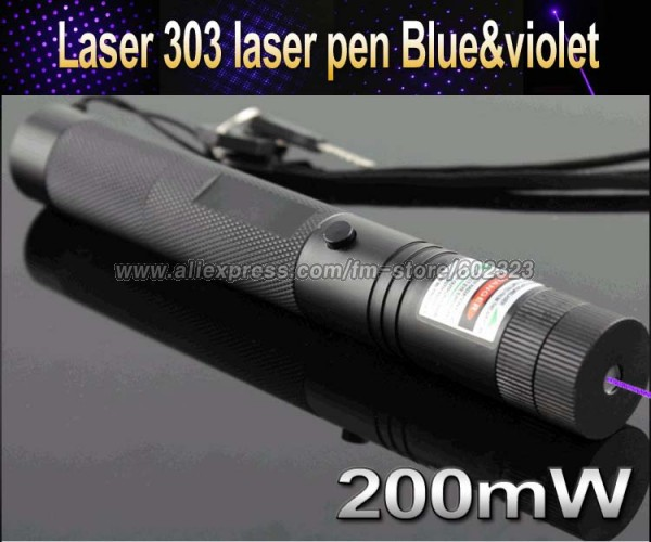 Top Laser 303 200mW blue & violet Laser Pointer Adjustable Focal Length and with Star Pattern Filter(China (Mainland))