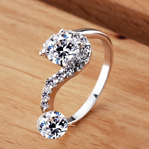 925 Silver Sterling Silver CZ stone jewelry environmentally is compatible with Pandora new femininity princess rings(China (Mainland))