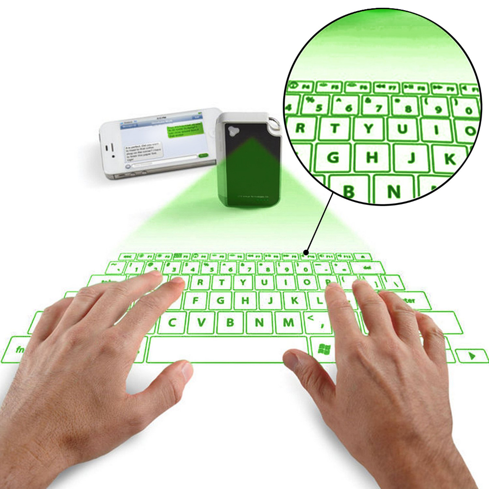 New Virtual Laser Projected USB Bluetooth Keyboard & Touchpad For iPhone Samsung iPad Mac Blackberry Android Green/ Red Light(China (Mainland))