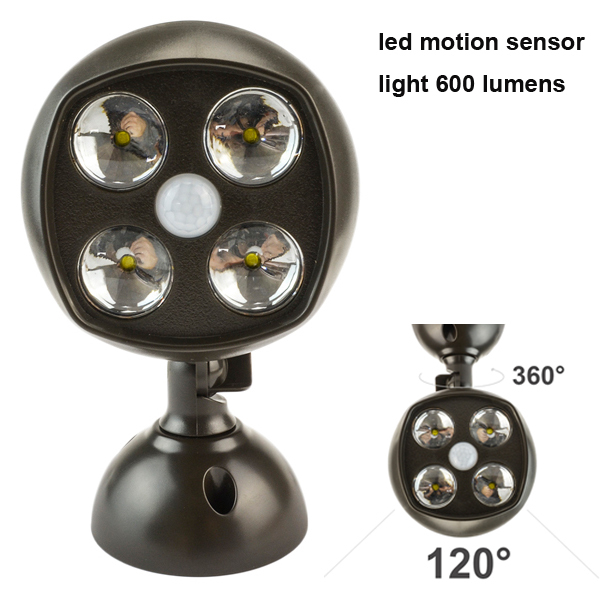 600 Lumens 4 Led Lamp Outdoor Garden Street Wireless Motion Sensor Spotlights Led Bulb Light Activate PIR Lamps Free Shipping(China (Mainland))