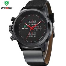 2014 moda WEIDE Mens reloj deportivo militar del ejército relojes japón del cuarzo del cuero genuino correa reloj 30 metros impermeabilizado