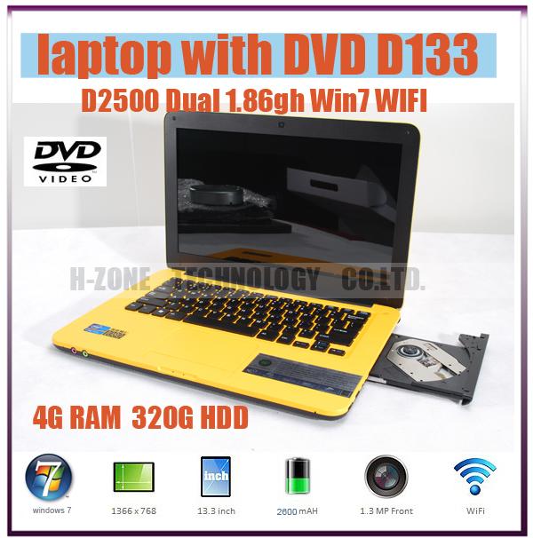 13.3'' ultra thin laptop computer with Intel Atom N2600 1.86Ghz dual core DVD-RW WIFI HDMI 4GB DDR3 RAM 320GB HDD HZ-D133(China (Mainland))