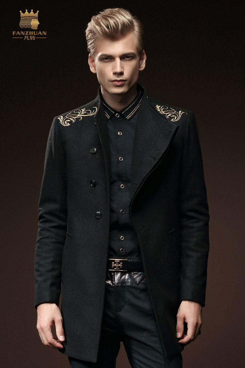 Free Shipping New male winter slim wool coat wool hoodless stand collar single breasted embroidered outerwear 0084 On Sale coat(China (Mainland))