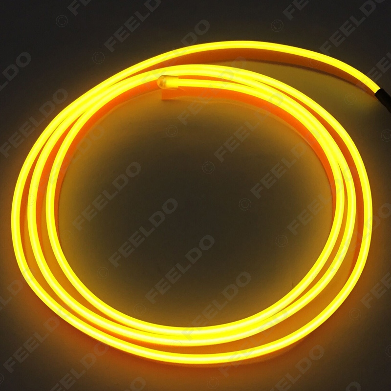 2M Yellow Flexible Moulding EL Neon Glow Lighting Rope Strip With Fin For Car Decoration #FD-1247(China (Mainland))