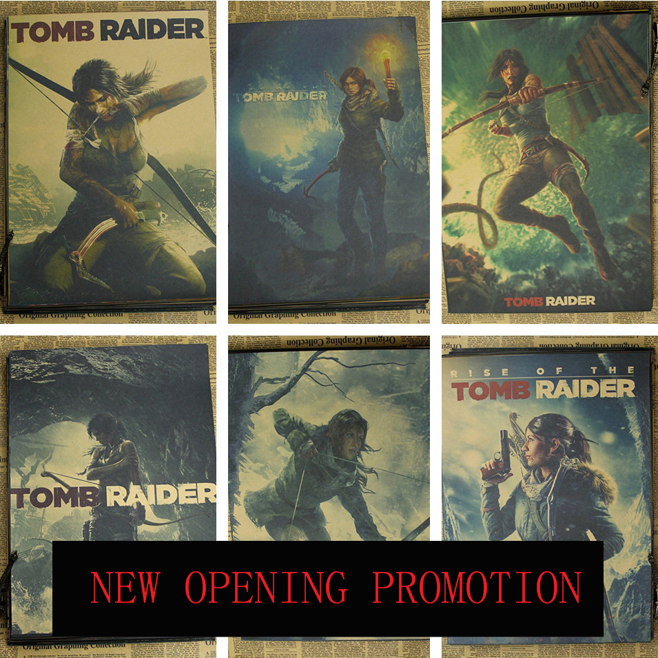 Tomb Raider Poster Game Peripheral 9 10 Rise TombRaider Laura Crawford Woman Adventure Vintage Poster(China (Mainland))