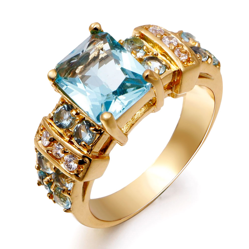 female sapphire jewelry woman aquamarine ring 18k real. Black Bedroom Furniture Sets. Home Design Ideas