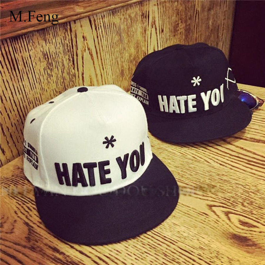 HATE YOU letter baseball cap black white Men's breathable Shade hats male and female couple Spring and summer hat MFM013(China (Mainland))