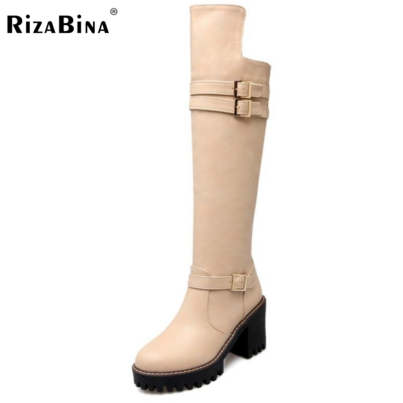 RizaBina Concise Style Women Botas Knee High Knight Boots Woman Platform Round Toe Thick Heels Shoes Heeled Footwear Size 34-43