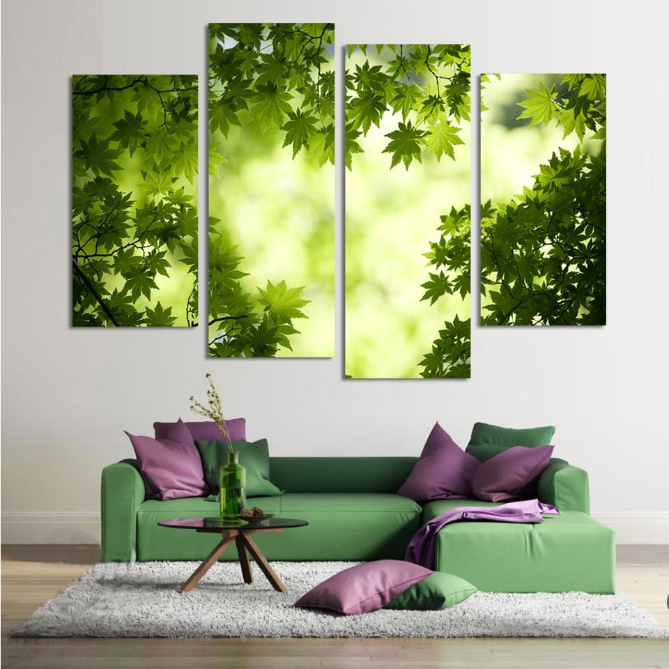 Pinturas hojas compra lotes baratos de pinturas hojas de for Pintura pared verde