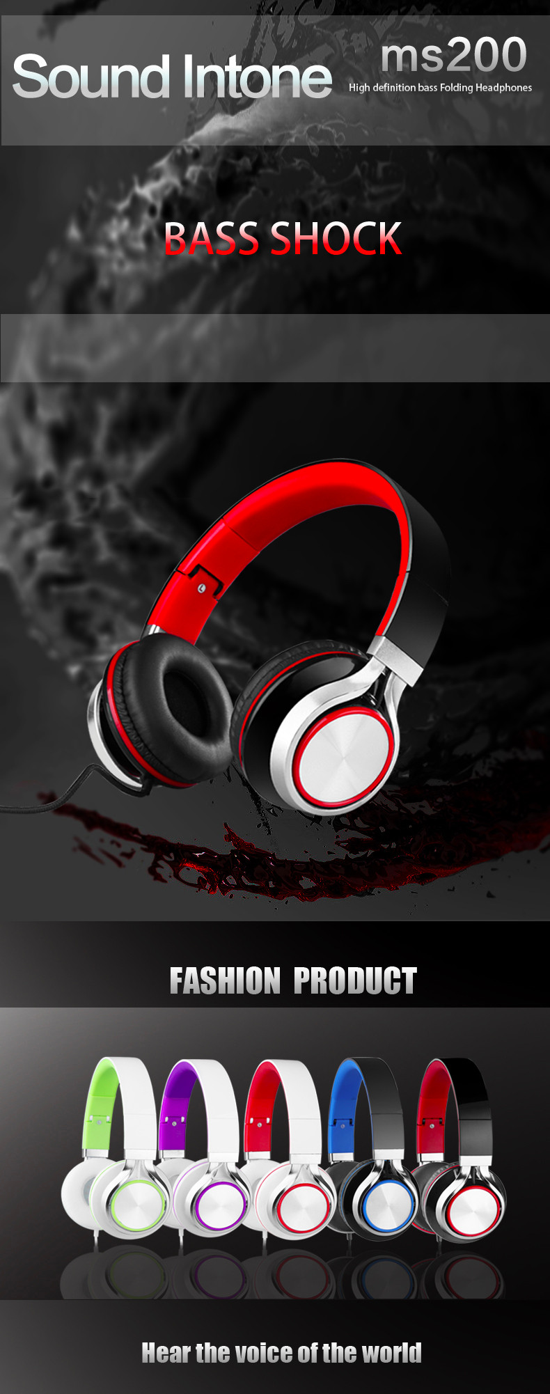 Sound Intone Ms200 Stereo Headsets Strong Bass Headphones for Smartphones Xiaomi Mp3/4 Laptop Computers Tablet Folding Earphones