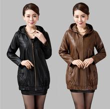 2016 Autumn Women Plus Size PU Leather Clothing Outerwear Medium-Long Slim Leather Coat  Fashion Women PU Leather Jacket L-5XL(China (Mainland))